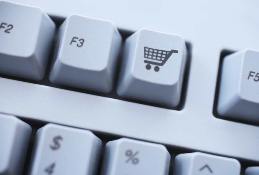 Close up of shopping cart button on keyboard